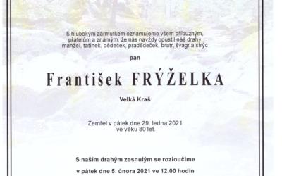Opustil nás pan František Frýželka, bývalý člen Okresní myslivecké rady ČMMJ OMS Šumperk